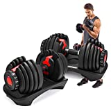 Happybuy Adjustable Dumbbell Series Fitness Dumbbell Standard Adjustable Dumbbell with Handle and Weight Plate for Home Gym System- Building Muscle (2pcs red 52.5lbs)