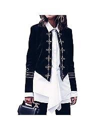 HIENAJ Women's Vintage Double Breasted Military Blazer Long Sleeve Steampunk Jacket