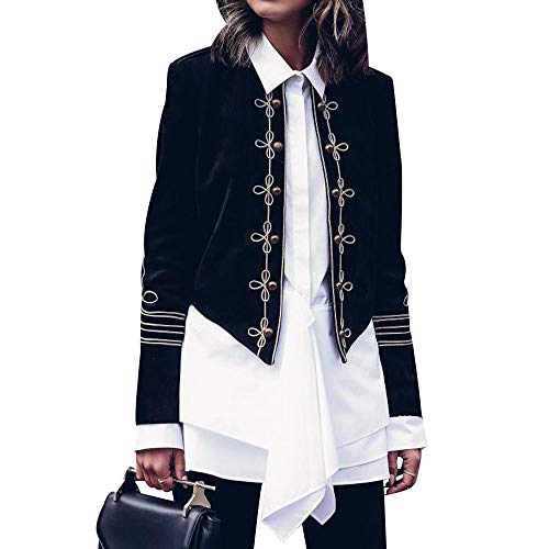 Women's Vintage Double Breasted Military Blazer Long Sleeve Steampunk Jacket Casual Fashion Open Front Blazer Suit Cardigan Elegant Short Coat Black