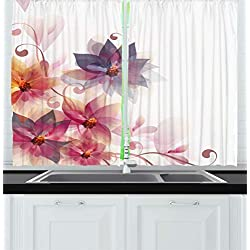 Ambesonne Abstract Decor Kitchen Curtains, Modern Floral Design with Burts and Leaves Detail Romantic Image, Window Drapes 2 Panels Set for Kitchen Cafe, 55 W X 39 L Inches, Pink Purple and Orange