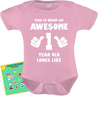 TeeStars - This is What an Awesome One Year Old Looks Like Funny Baby Bodysuit 12M Pink