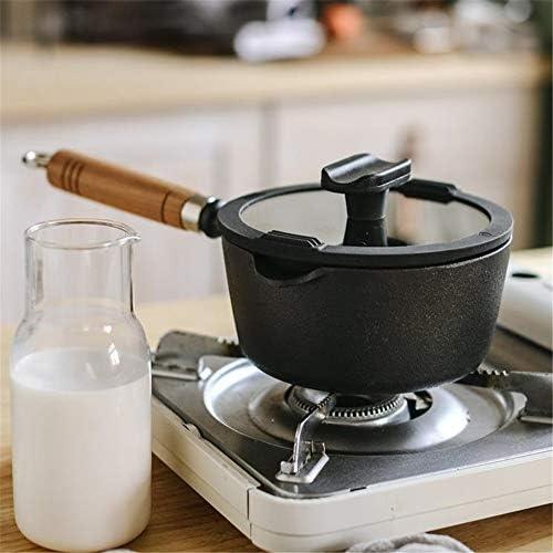 JDH Pot à Lait en Fonte Non revêtu, Pot de Soupe en Fer supplémentaire, avec Couvercle, matériau de Haute qualité, poignée en Bois Massif, pour œufs à la Coque, Lait Chaud