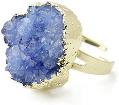 Hoxis Summer Charming Coral Raw Crystal Cluster Druzy Glod Plating Handmade Ring Candy Stone