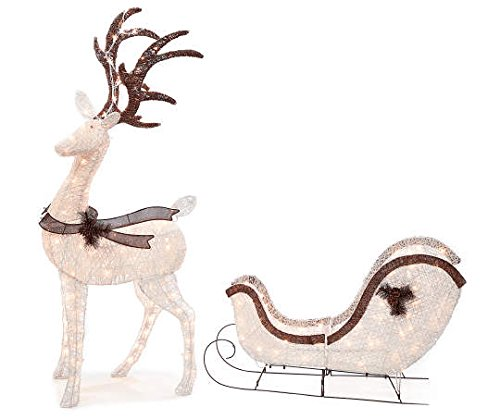 Light-Up Buck Deer & Sleigh, 2-Piece Set Christmas Yard Decoration by Winter Wonder Lane