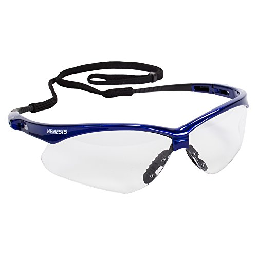 (Jackson Safety Nemesis Safety Glasses (47384), Clear Anti-Fog Lens with Metallic Blue Frame, 12 Pairs / Case)