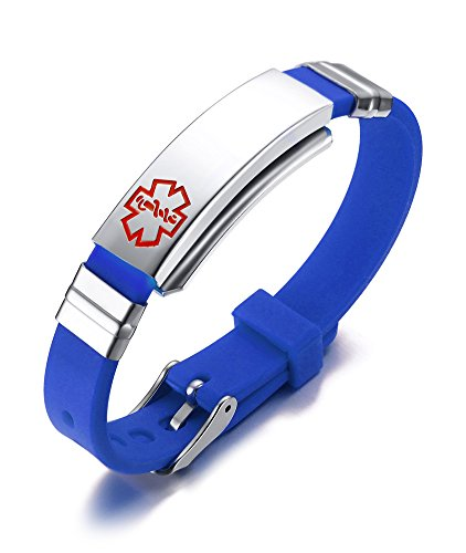 PJ Jewelry Free Engraving Unisex Silicone and Stainless Steel Medical Alert ID Bracelets, Adjustable,Blue