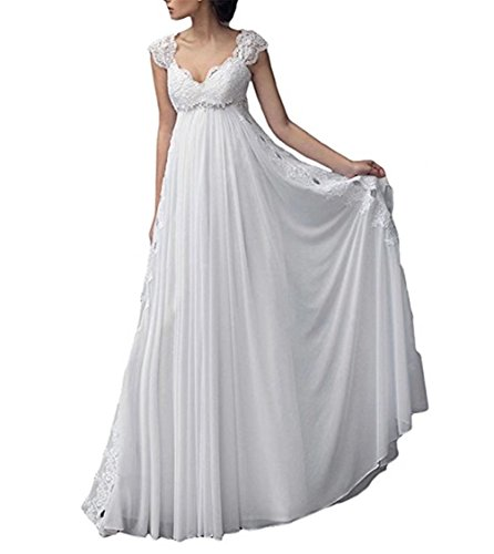 (Fishlove Womens V Neck Lace Chiffon Wedding Dress Beaded Empire Waist Cap Sleeve Bridal Gowns)