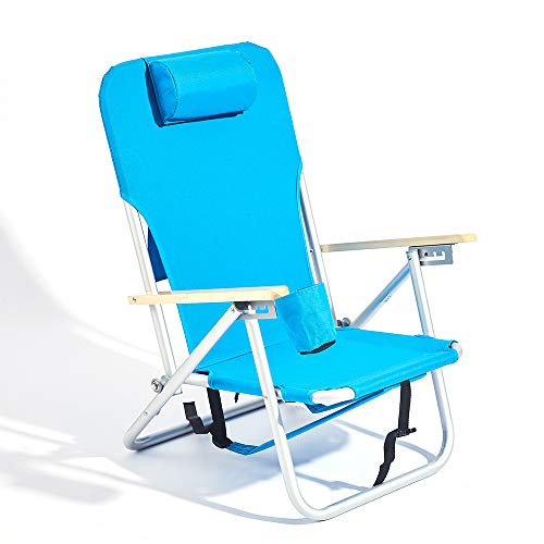 Copa 4-Position Aluminum Backpack Chair with Storage Bag, Light Blue
