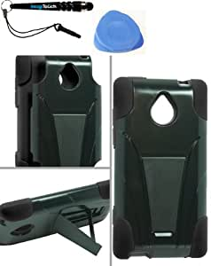 IMAGITOUCH(TM) 3-Item Combo HTC 8XT Hybrid Case w Stand Black (Stylus pen, Pry Tool, Phone Cover)