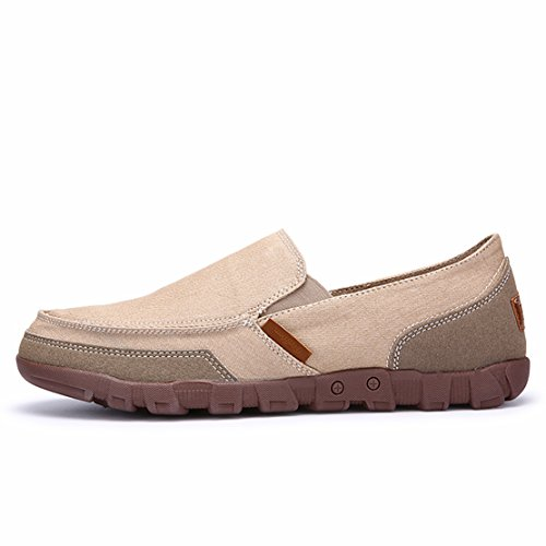 Ga Tour Heren Klassiek Canvas Comfort Casual Rijstrook Slip Op Loafers Beige