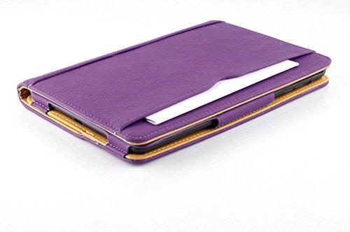 New S-Tech iPad Mini 4 Soft Leather Wallet Smart Cover with Sleep / Wake Feature Flip Case for Apple iPad Mini 4 (Purple) - New Tech Mini
