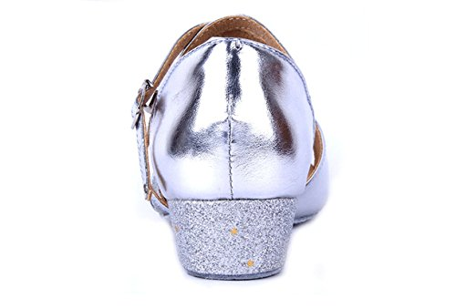 Girls Soft-soled Glittering Latin Ballroom Dance Shoes with Leather Strap(13.5, Silver) by staychicfashion (Image #4)