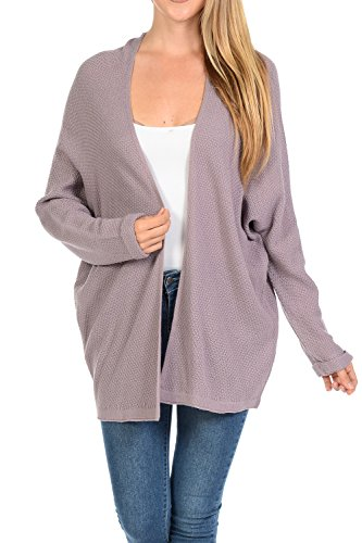 Auliné Collection Women's Casual Open Front Loose Drape Knit Cardigan Sweater Dusty Lav L/XL ()