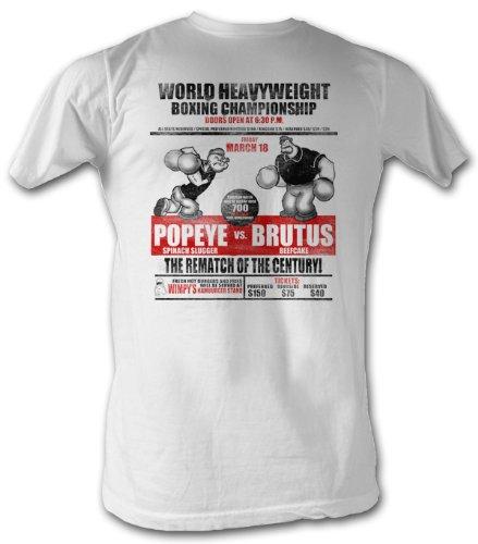 A&E Designs Popeye T-Shirt - Heavyweight Boxing Championship Adult White Tee Shirt, XL ()