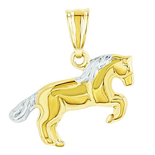 Polished 14k Yellow Gold Running 3D Horse Charm Animal Pendant
