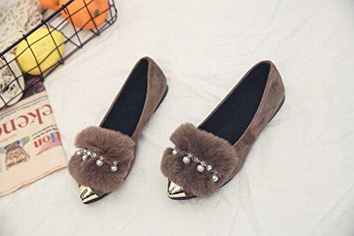 Blush Shoe Bows Single Shirt Mujer Bottom Flat Lazy Shoes Scoop Shoes , marrón , EUR35