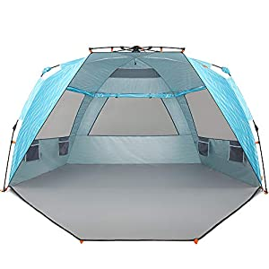 Easthills Outdoors Instant Shader Enhanced (Prints) Pop Up Beach Tent Sun Shelter with UPF 50+ UV Protection Double…