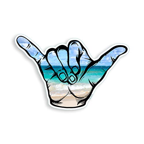 Hang Loose Beach Scene Shaka Sticker Sign Symbol Cup Cooler Laptop Vinyl Decal Graphic