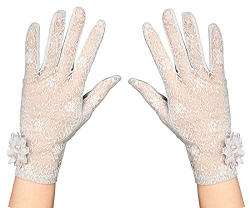 (Tea Party Gloves for Women Floral Lace Wedding Gloves 1920s Flapper Evening Opera Gloves)