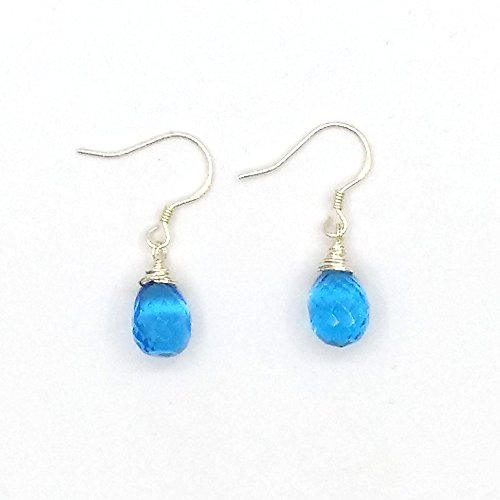 India Beauty Swiss Blue Quartz Section, Faceted Water Droplets,Scattered Tears Beads, Silver Teardrop Earrings. Wire Wrapped Drop Earrings. Dainty Bead Dangle Earrings. Semi Precious Gemstone Jewelry