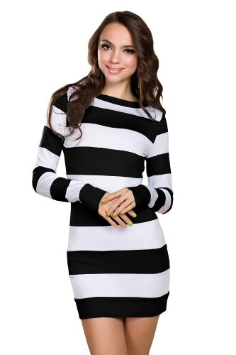 Amour Women's Striped Long Sleeves Mini Dress