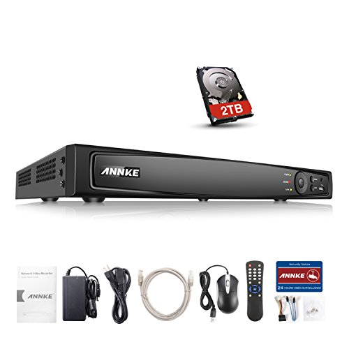 160 4 Channel Dvr - ANNKE 16CH PoE NVR 1080p/3MP/4MP/5MP/6MP Network Video Recorder with 2TB Hard Drive, H.264 HDMI Output, Real-time live viewing, VCA Detection Alarm and Search