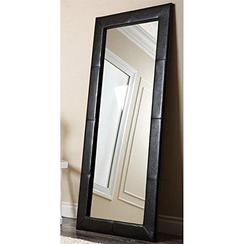 Abbyson Living Blaketon Leather Floor Mirror in Black Leather Floor Mirror