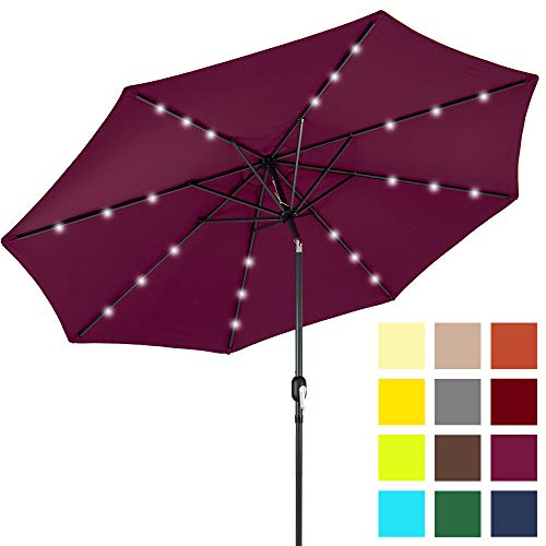 Best Choice Products 10ft Solar Powered LED Lighted Patio Umbrella w/Tilt Adjustment, Fade-Resistant Fabric, Wind Vent – Burgundy