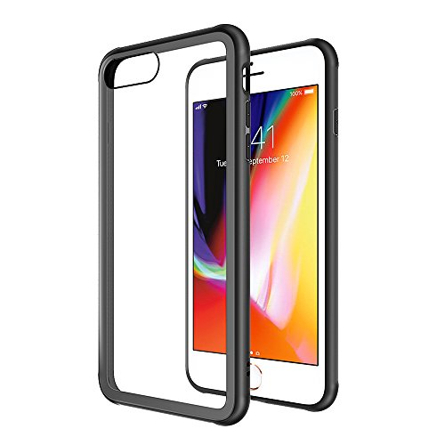 Case for iPhone 7 Plus iPhone 8 Plus Crystal Clear Slim Fit iPhone 7 Plus Case 9H Tempered Glass Back Cover Thin Mobile Phone Case Shock Absorption Protective Transparent for iPhone 7+/8+,5.5