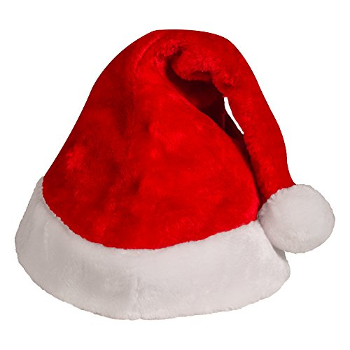 [Plush Red Velvet Santa Hat with White Cuffs (2 Pack)] (Festival Costume For Men)