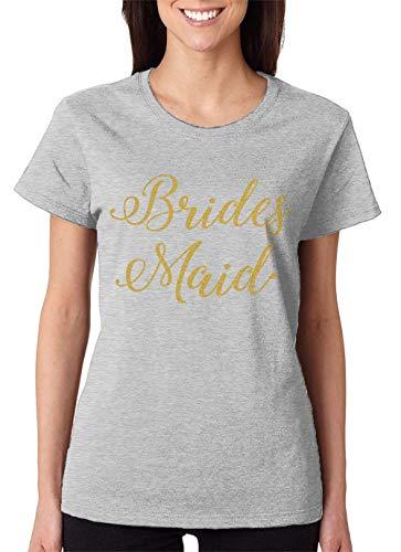 Bridesmaid Womens Light T-shirt (SpiritForged Apparel Bridesmaid Gold Glitter Women's T-Shirt, Light Gray Medium)