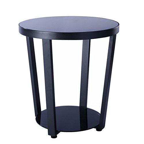 Oak Magazine Floor Lamp - D&L Round Glass Side table, Modern Simple Sofa table Bedroom Night table Creativity Coffee table Telephone table Storage rack-black W50xH57cm