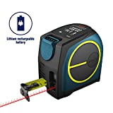 Laser Tape Measure 2-in-1,laser measurement 131Ft silent laser range finder USB rechargeable color LCD display, measuring distance, IP54 waterproof standard, tape length 16Ft, Nylon Coating for DIY