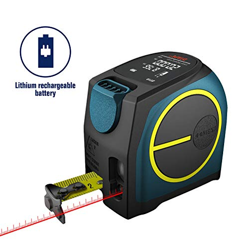 Laser Tape Measure 2-in-1,laser measurement 131Ft silent laser range finder USB rechargeable color LCD display, measuring distance, IP54 waterproof standard, tape length 16Ft, Nylon Coating for DIY (Best Laser Tape Measure)