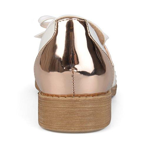 Brinley Co Dames Kunstleer Boog Accent Wingtip Loafers Roségoud
