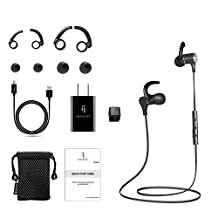 North Buy Bluetooth Magnetic Headphones, Wireless Necklace Style, In-Ear Cordless Stereo Headset, Built-in Mic, Digital Noise Cancelling, Water and Sweat Proof, with Travel Adapter and Accessories