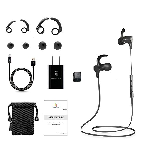North Buy Bluetooth Magnetic Headphones, Wireless Necklace Style, In-Ear Cordless Stereo Headset, Built-in Mic, Digital Noise Cancelling, Water and Sweat Proof, with Travel Adapter and Accessories Review