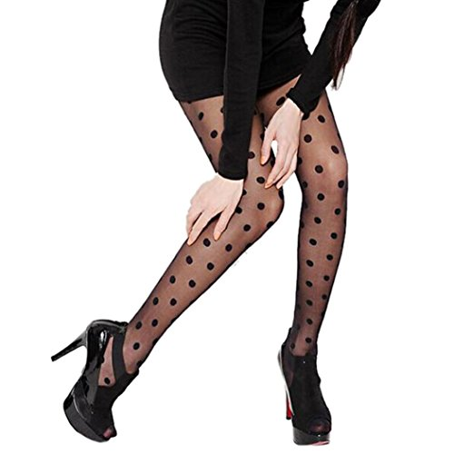 Snowfoller Thin Pantyhose,Sexy Women Sheer Lace Big Dot Pantyhose Stockings Tights Dots Socks Full Length Reinforced 2 Color (Black) ()