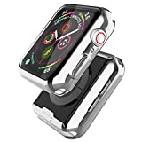 [2 Pack] Misxi Silver Case Compatible with Apple Watch Series 5 / Series 4 Screen Protector 40mm, 2019 New iwatch Cover TPU Overall Protective Case for Series 5/4 40mm (1 Silver+1 Transparent)