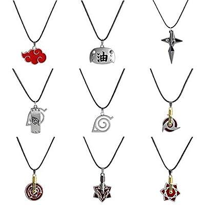 WerNerk Naruto Necklace, Naruto Shippuden Tsunade Naruto Uzumaki Kakashi Uchiha Sasuke Gaara Sharingan Cosplay Pendant Necklace for Anime Fans(Style 08): Jewelry
