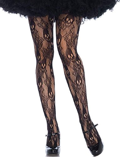 Frank The Bunny Costume Small (Black Rose Skull Lace Pantyhose Tights Womens Gothic Plus Size 1X-2X)
