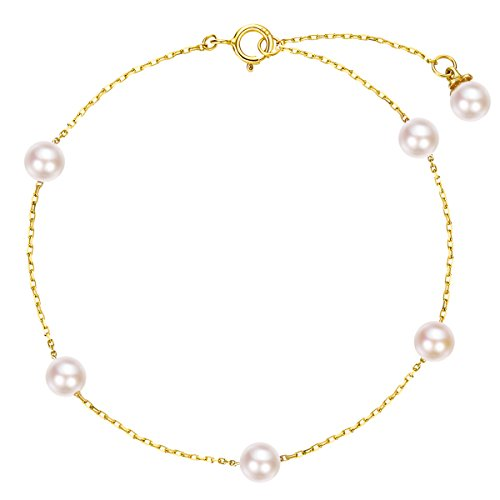 Carleen Solid 14K Yellow Gold Dainty Delicate Pearl Bracelets for Women Girls Gifts for Valentine's Day, 6.70+1.20 inch ()