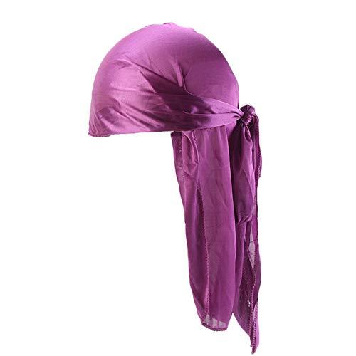 Unisex Deluxe Silky Durag Extra Long-Tail Headwraps Pirate Cap 360 Waves Du-RAG (Plain Purple 1pc) -