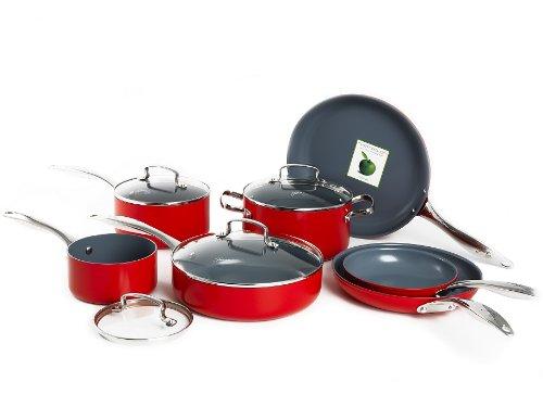 Fiesta 11 Piece Aluminum Non-Stick Ceramic Cookware Set, Scarlet