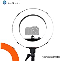 LimoStudio 18 inch Fluorescent 5500K Dimmable Ring Light and Portrait Lightwith Ring Light Diffuser Cloth (White, Orange) for less Contrast and Soft Lights, Warm to Cool Colors, AGG2328V2