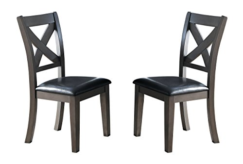 Homelegance Seaford X-Back Dining Chairs with Bi-Cast Vinyl Cushioned Seat (Set of 2), (Cast Seat Side Chair)
