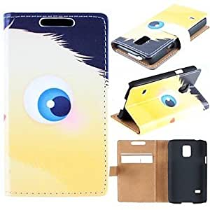 SOL Lovely Cartoon Eyes Pattern PU Leather Full Body Case with Card Slot for Samsung Galaxy S5 Mini G800