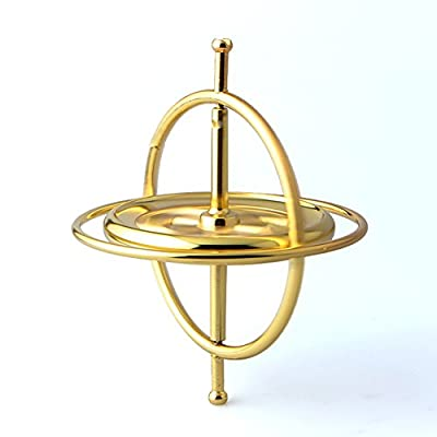AKDSteel Zinc Alloy Finger Top Toy Revolving Gyroscope Stress Reliever Toy as Gifts Gold -for Toys: Home & Kitchen