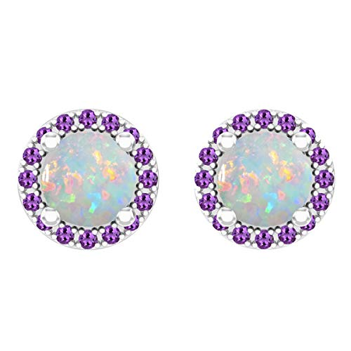 Dazzlingrock Collection 18K 6 MM Each Round Opal & Amethyst Ladies Halo Stud Earrings, White Gold