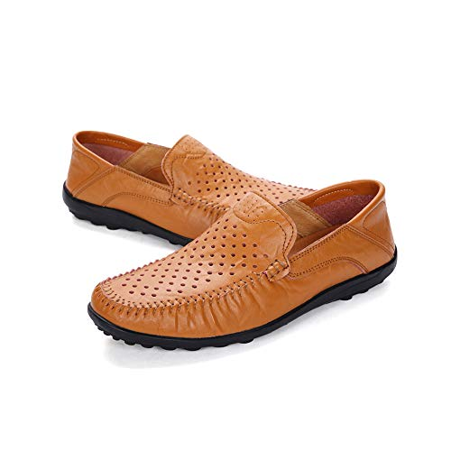 Hombres Conducción Redonda Respirables Amarillo Punta En Fuera Ahueca tip U Mocasines Cuero Los Zapatos De Para Hacia Vaca qX6wRPw